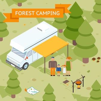 Camping bosque isométrico familiar. papá mamá hija e hijo descansan en la naturaleza. ilustración vectorial