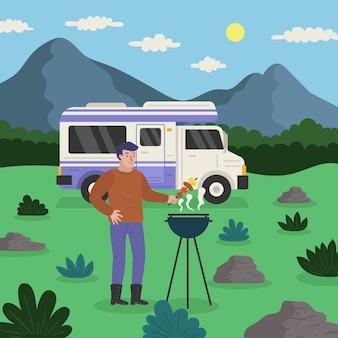 Camping con una caravana y una ilustración de hombre.
