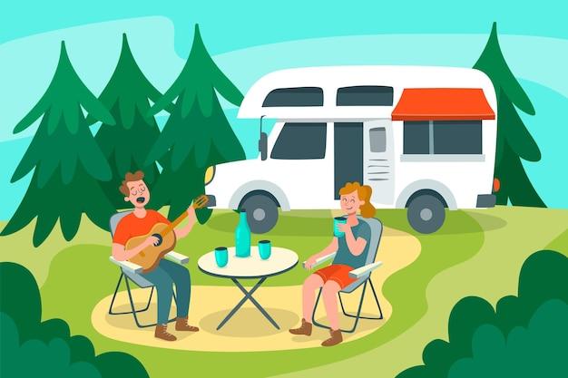 Camping con caravana ilustrada