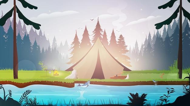Camping con carpa en el bosque.