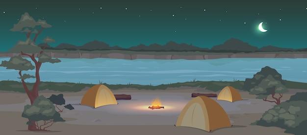 Camping en color plano de noche. recreación en la naturaleza. ocio activo en verano. viaje de campamento. carpas paisaje de dibujos animados 2d con río y bosque a medianoche en el fondo