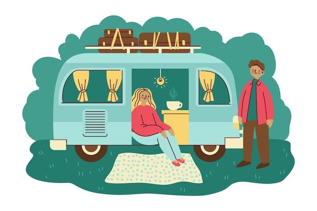 Camping con concepto de caravana