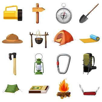 Camping conjunto de iconos de artículos. ilustración de dibujos animados de 16 artículos de camping vector iconos para web