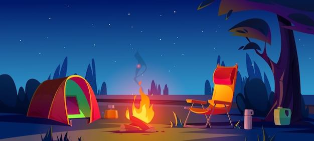 Camping de dibujos animados en la noche
