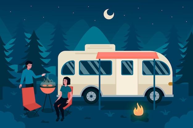 Camping con diseño de caravana