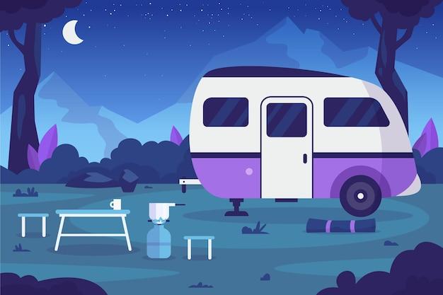 Camping de diseño plano con caravana por la noche.