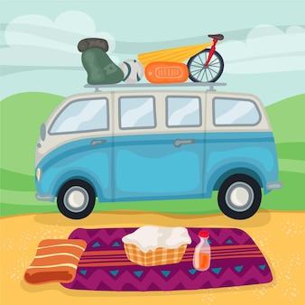 Camping de diseño plano con caravana.