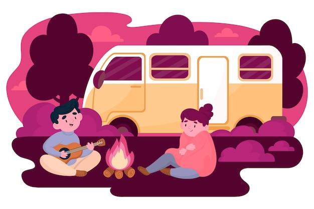 Camping con diseño plano de caravana.