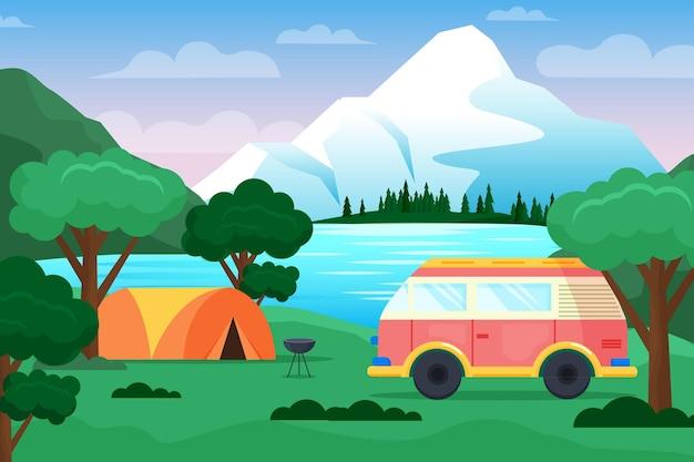 Camping de diseño plano con carpa.