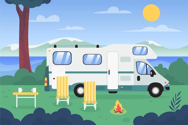 Camping de diseño plano con una ilustración de caravana.