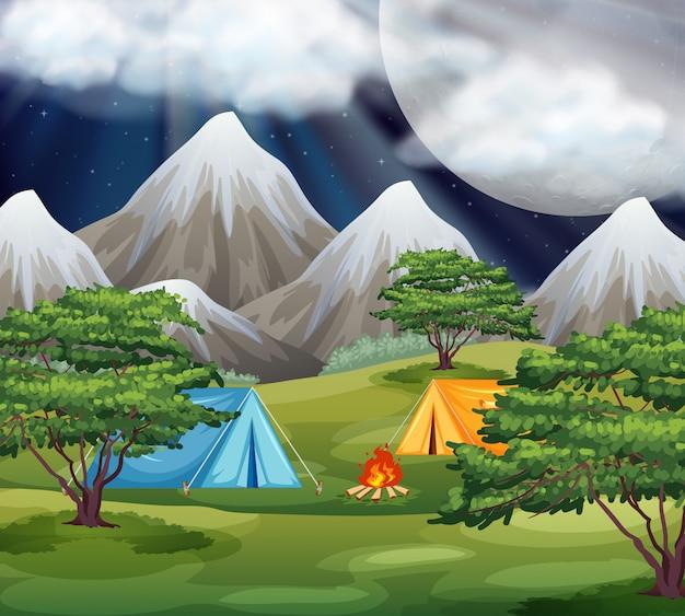 Camping en la escena del parque
