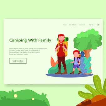 Camping con familia ilustración de página de aterrizaje