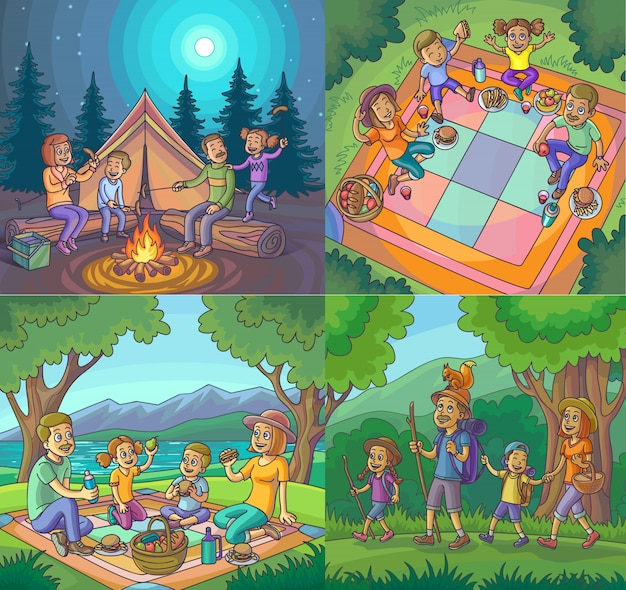 Camping feliz vacaciones familiares caminata picnic conjunto.