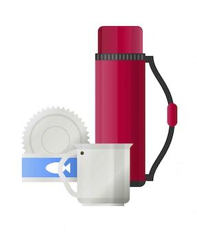 Camping herramientas o iconos de vector de accesorios de campamento