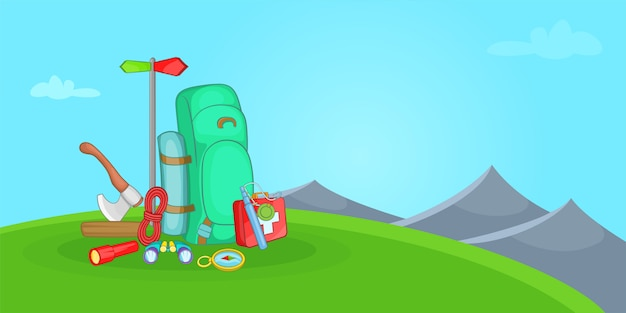 Camping horizontal de fondo colina, estilo de dibujos animados