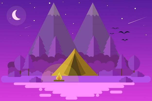 Camping i acampando por la noche con fuego, árboles, estrellas y luna brillante, tiendas de campaña en una isla de noche.