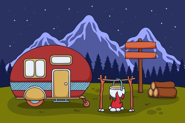 Camping con una ilustración de caravana con chimenea.