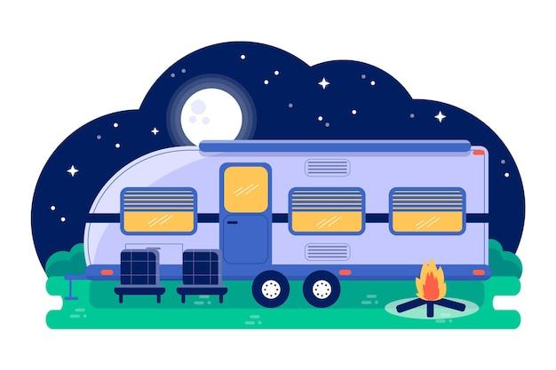 Camping con una ilustración de caravana con hoguera.