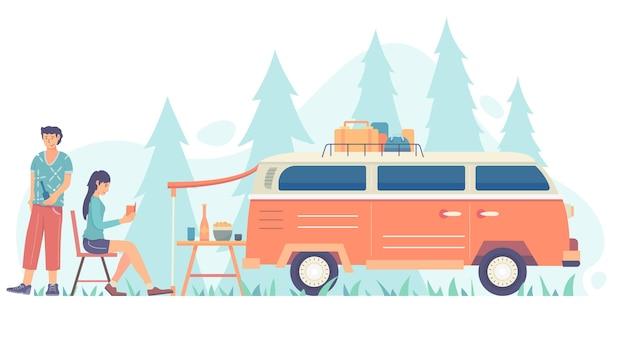 Camping con una ilustración de caravana con hombre y mujer.