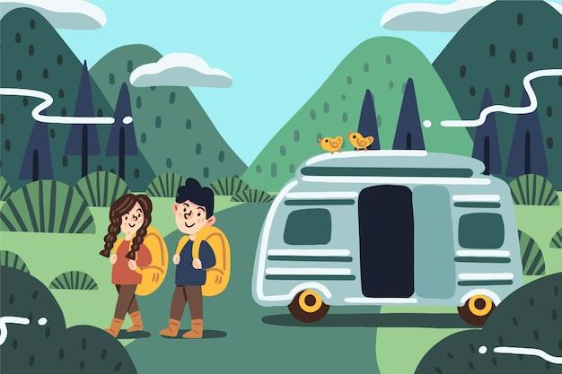 Camping con una ilustración de caravana con niña y niño.
