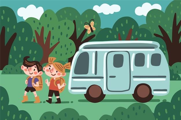 Camping con una ilustración de caravana con niño y niña.
