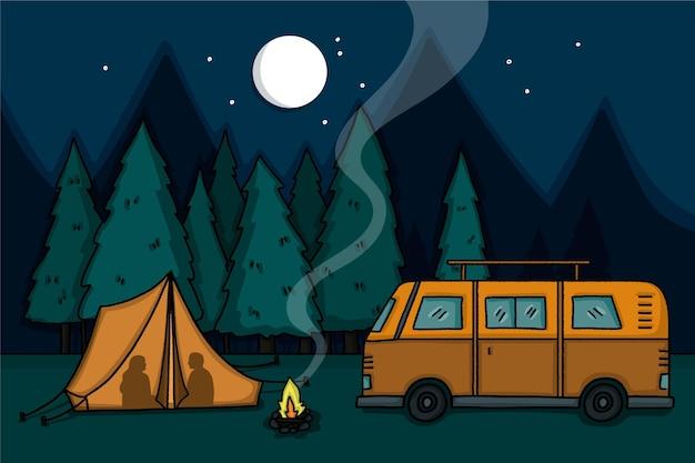 Camping con una ilustración de caravana en la noche.