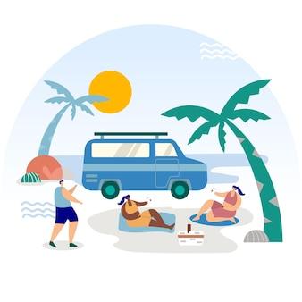Camping con una ilustración de caravana con palmeras.