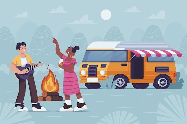 Camping con una ilustración de caravana con pareja y fogata.