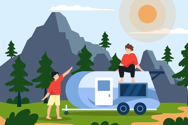 Camping con una ilustración de caravana con personajes.