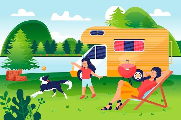 Camping con una ilustración de caravana con personas y perro.
