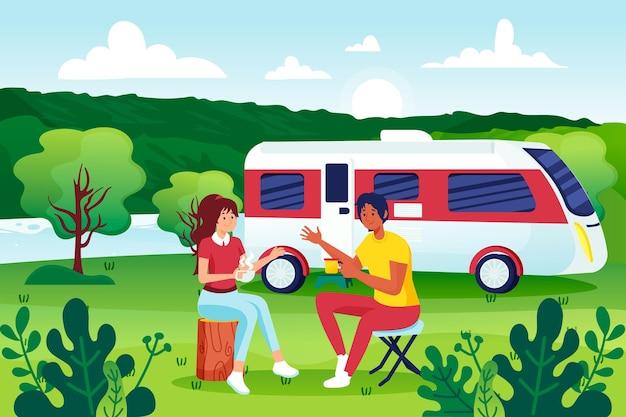 Camping con una ilustración de caravana con personas.