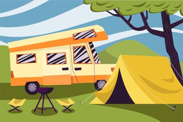 Camping con una ilustración de caravana y tienda.