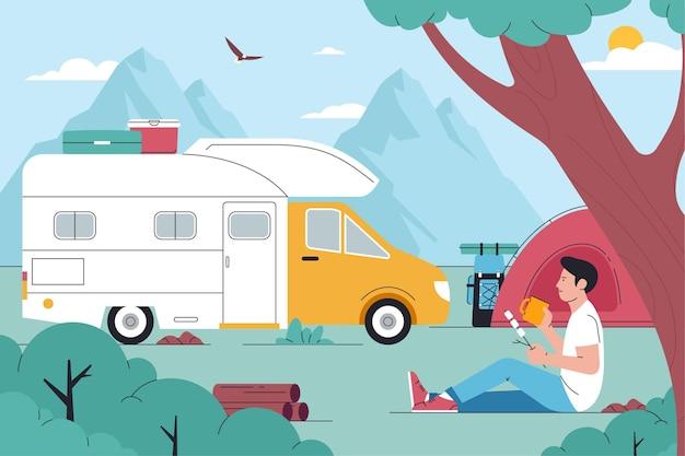 Camping con una ilustración de caravana.
