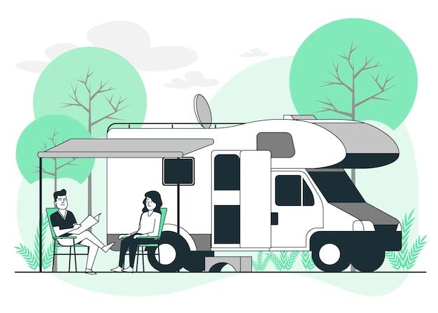 Camping con una ilustración de concepto de caravana