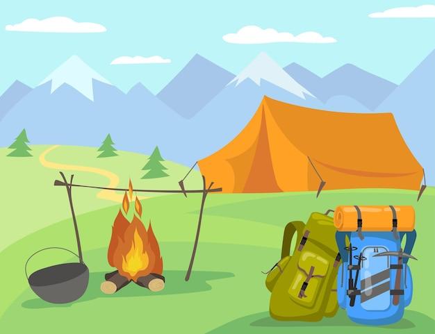 Camping en la ilustración de dibujos animados de luz del día