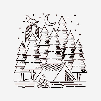 Camping en la ilustración de la línea forestal