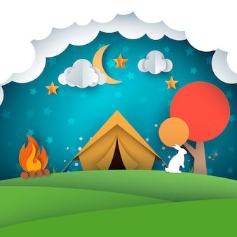 Camping, ilustración tienda de campaña. paisaje de papel