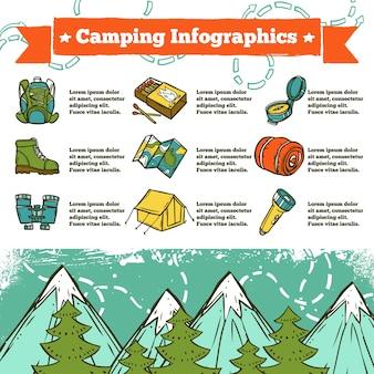 Camping infografía boceto