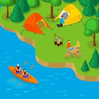 Camping isométrico y concepto de recreación activa