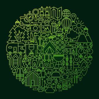 Camping line icon circle camping. ilustración de vector de objetos de esquema de campamento de verano.