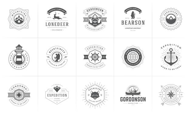Camping logotipos e insignias plantillas de elementos de diseño vectorial y conjunto de siluetas. montañas de aventura al aire libre y campamento forestal emblemas y logotipos de estilo vintage retro ilustración.