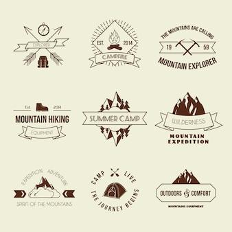 Camping montaña aventura senderismo etiquetas de equipo explorador o insignia conjunto aislado vector illustration