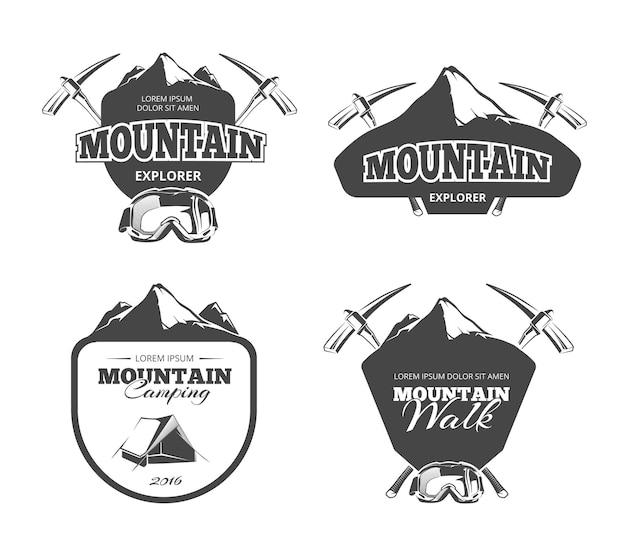 Camping de montaña vintage, emblemas de montañismo, etiquetas, insignias, conjunto de logotipos.