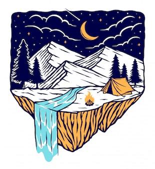 Camping en las montañas en la noche ilustración