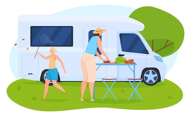 Camping, mujer preparando el almuerzo cerca de la casa sobre ruedas, niña con una red atrapa mariposas. estilo de dibujos animados