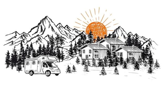 Camping en la naturaleza, autocaravana, paisaje de montaña, estilo dibujado a mano
