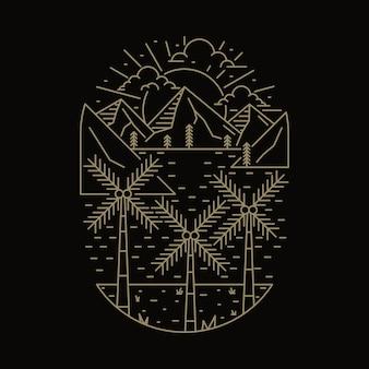 Camping naturaleza aventura salvaje línea insignia parche pin gráfico ilustración arte diseño de camiseta