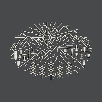 Camping naturaleza aventura salvaje línea insignia parche pin gráfico ilustración
