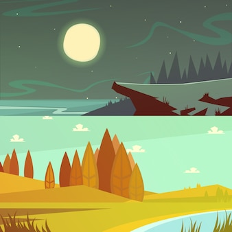 Camping y naturaleza en horario diurno y nocturno.