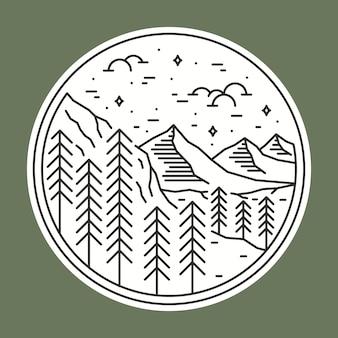 Camping naturaleza salvaje insignia parche pin ilustración gráfica
